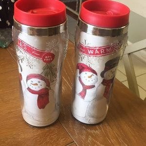 Set of 2 Holiday Thermal Cups with Lids
